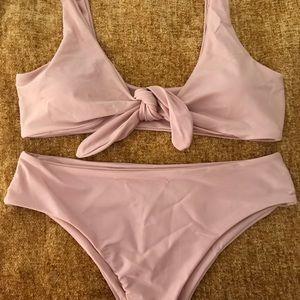 7cb5d1a0451bdc SHEIN Swim - SHEIN Bow Tie Scoop Neck Bikini Set